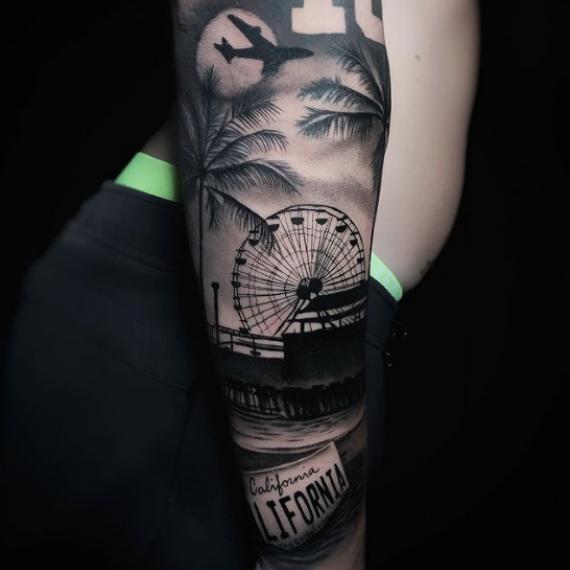 Tatuaje para hombre paisaje